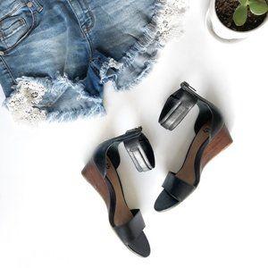 UGG Shoes - UGG Char Ankle Strap Wedge Sandal Black Size 5.5